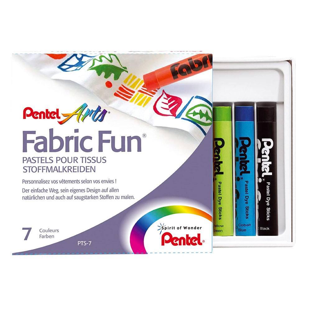 Giz Pastel Seco Fabric Fun C/ 7 Cores Para Tecido - Pentel