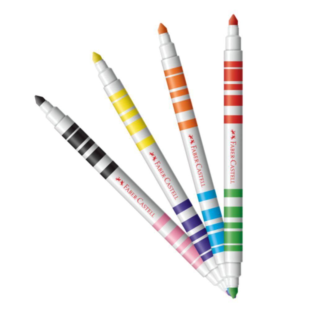 Caneta Hidrográfica Bicolor com 12 Unidades e 24 Cores - Faber Castell