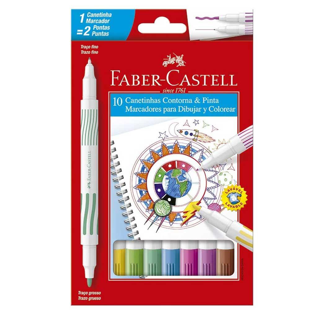 Caneta Hidrográfica 10 Cores Contorna e Pinta - Faber-Castell