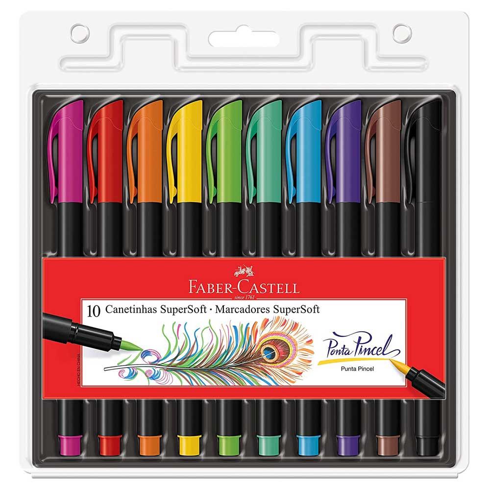 Kit Caneta Brush Pen Supersoft Ponta Pincel C/10 - Faber Castell