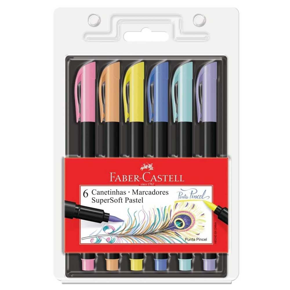 Kit Caneta Brush Pen Supersoft Ponta Pincel - Pastel C/6 - Faber Castell