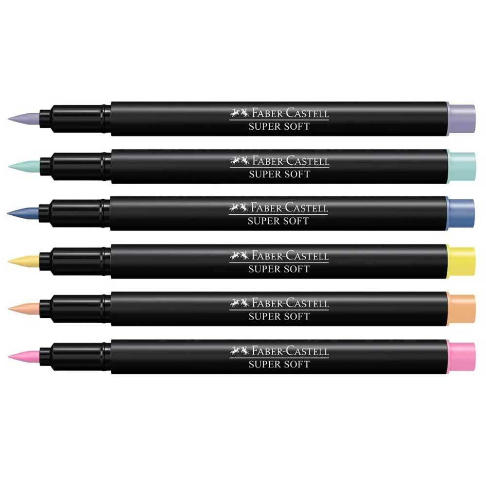 Kit Caneta Brush Pen Supersoft Ponta Pincel - Pastel C/6 - Faber Castell