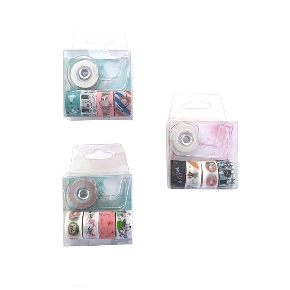 Jogo de Fita Adesiva Decorativa / Washi Tape 5 Peças Sortidas + Suporte