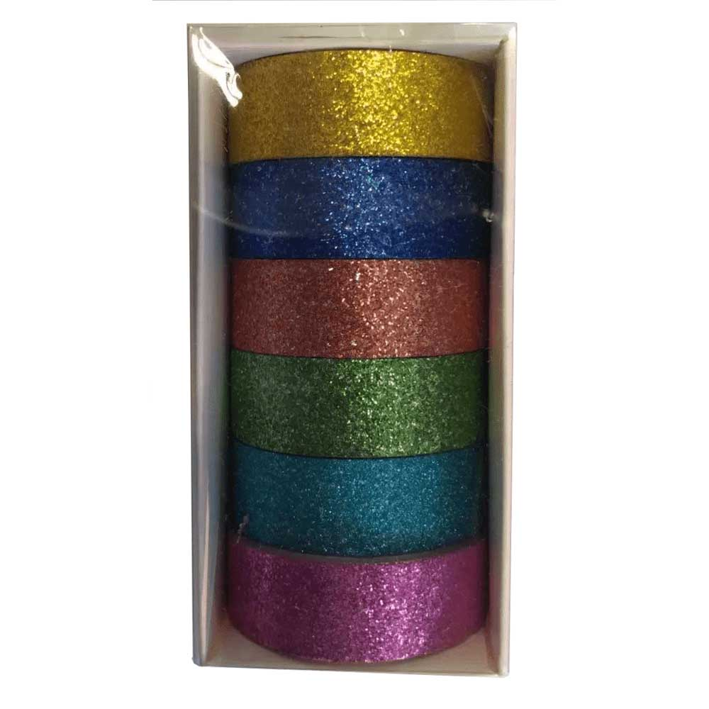 Fita Adesiva / Washi Tape Decorativa Glitter C/6 Peças