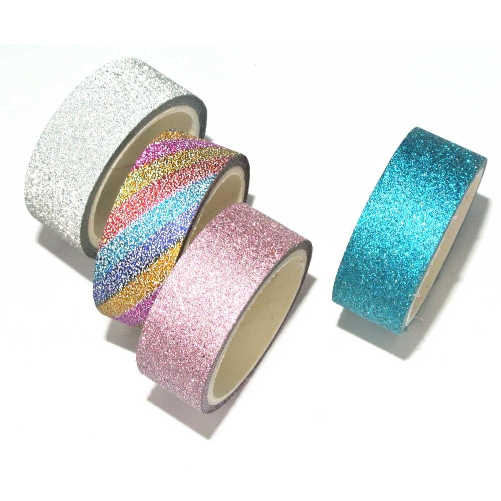 Fita Adesiva / Washi Tape Decorativa Glitter C/4 Peças