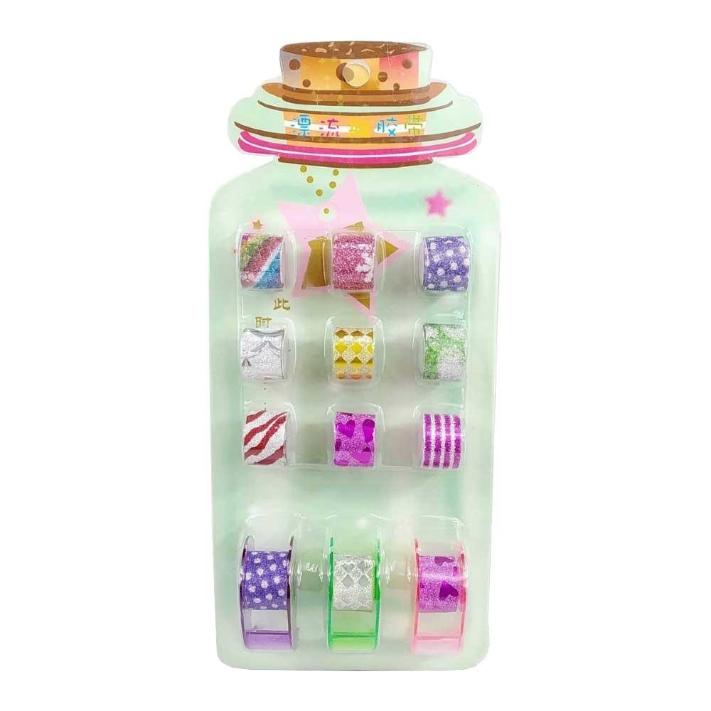 Fita Adesiva / Washi Tape Decorativa Com Glitter Colors + 3 Suportes - Kit com 15 Peças Sortidas