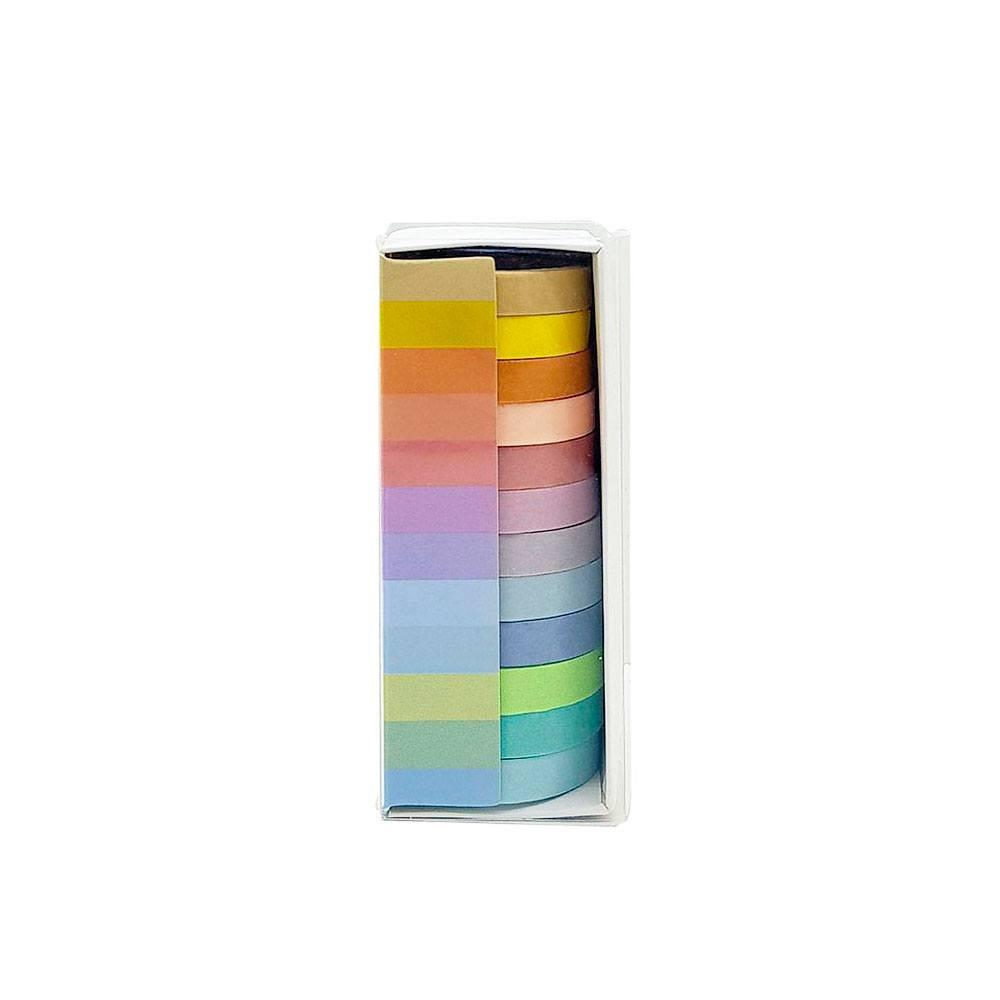 Fita Adesiva Fina / Washi Tape Tons Pasteis 12Pcs