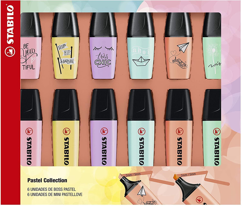 Kit Pastel Collection: 6 Boss Pastel + 6 Mini Boss Pastel Love - Stabilo