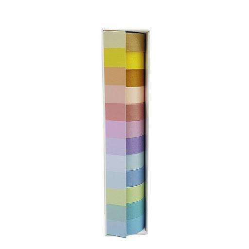 Kit Fita Adesiva / Washi Tape Tons Pastel 12PcsX2Mt