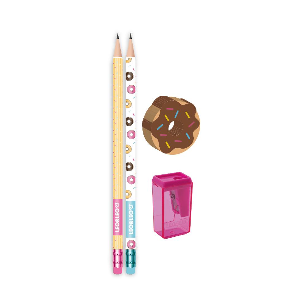 Kit Escolar 4 Peças Donut 2 Lápis/Apontador/Borracha - Leo & Leo
