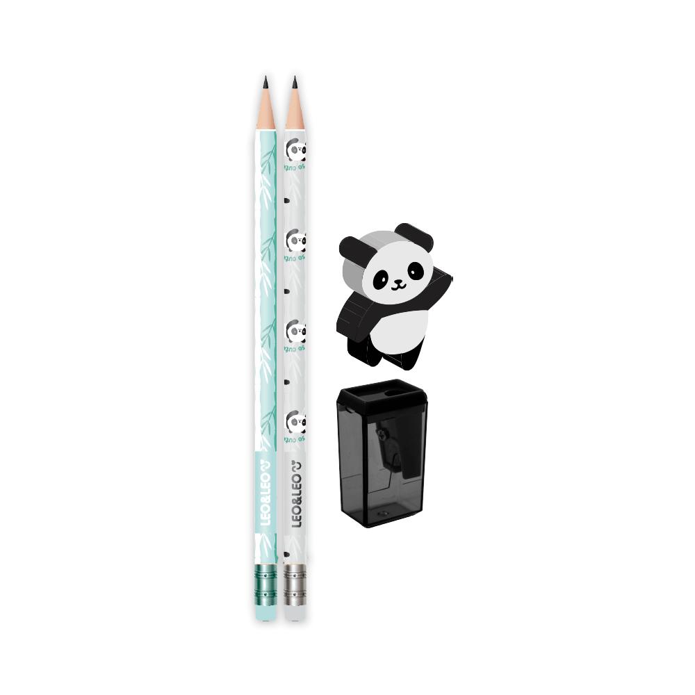 Kit Escolar 4 Peças Panda 2 Lápis/Apontador/Borracha - Leo & Leo