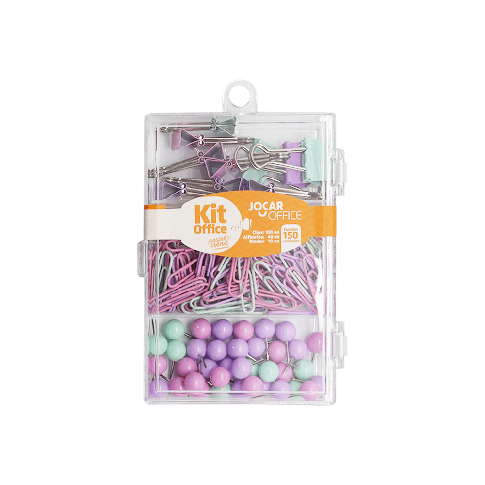 Kit Office Prendedores de Papel Binder, Alfinetes e Clips Pastel Trend - Jocar Office