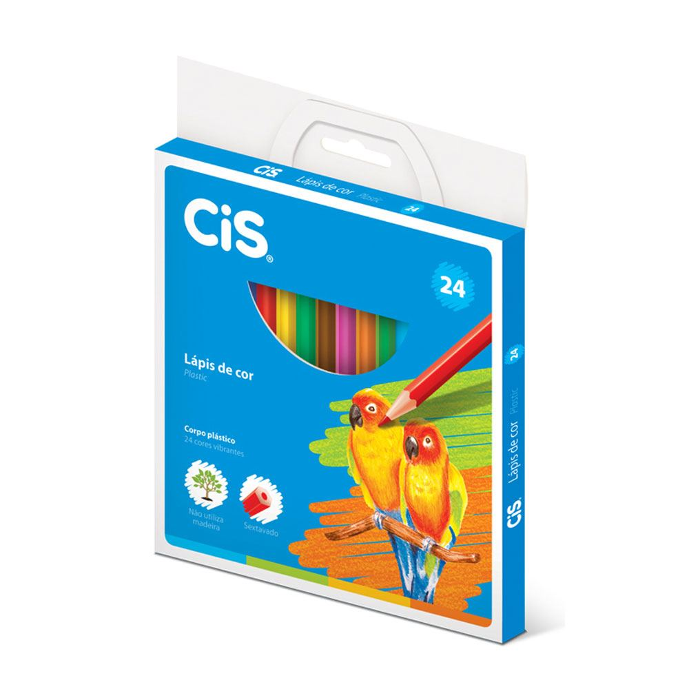 Lápis de Cor Sextavado 24 Cores Plastic - CiS