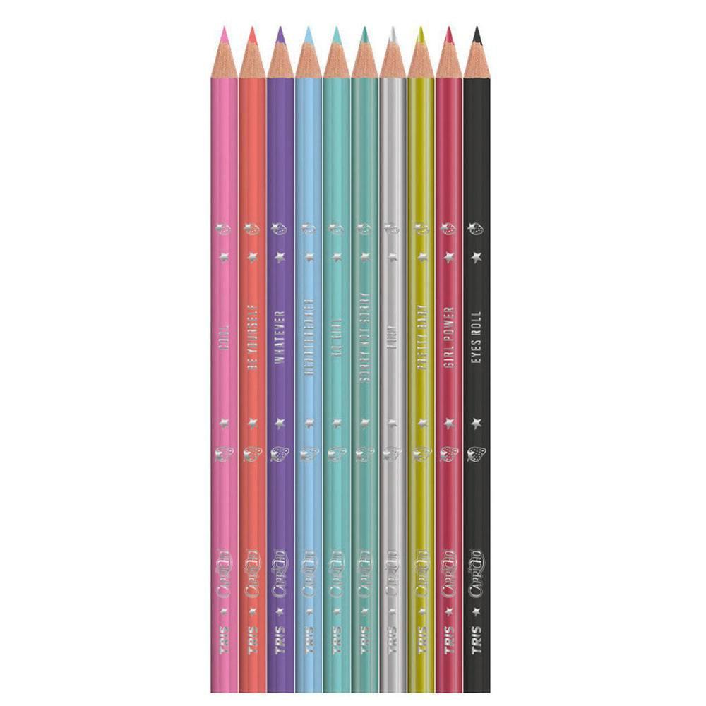 Lápis de Cor Tris Capricho 10 Cores Tons Especiais Sextavado - Tris