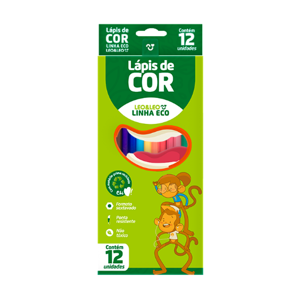 Lápis de Cor Sextavado Ecológico Longo 12 Cores Leo & Leo