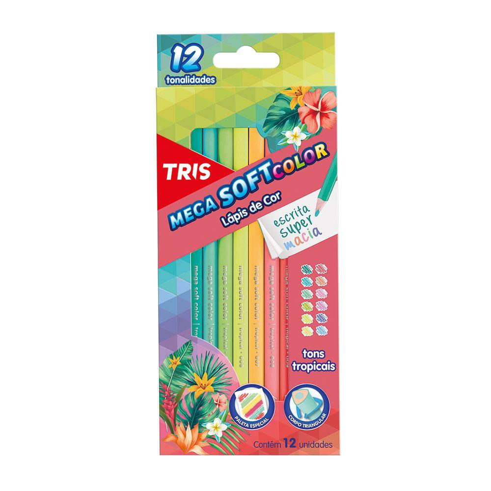 Lápis De Cor Mega Soft Color Tons Tropicais 12 Cores - TRIS