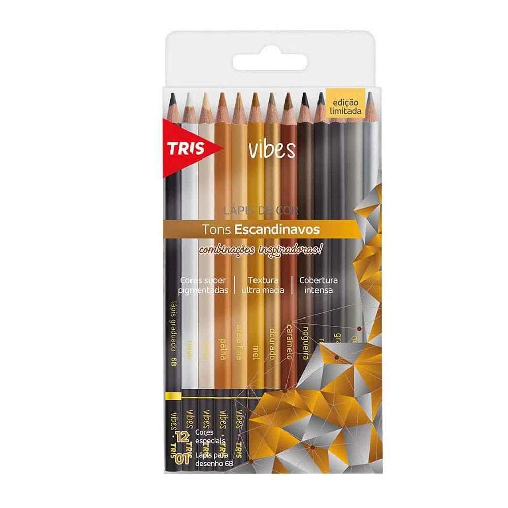 Lápis de Cor Tris Vibes 12 Cores + Lápis 6B - Tris