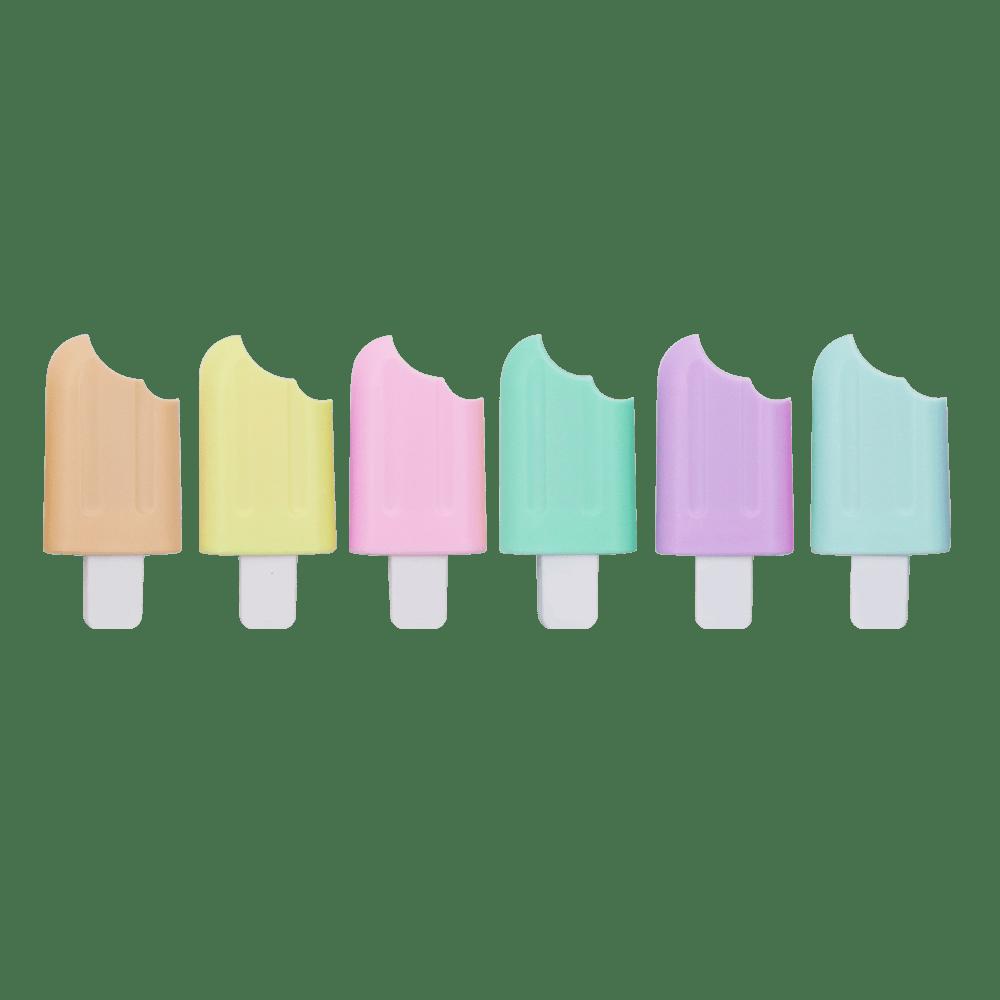 Kit Canetas Marca Texto Mini Picolé Pastel Trend 6 Cores - Jocar Office