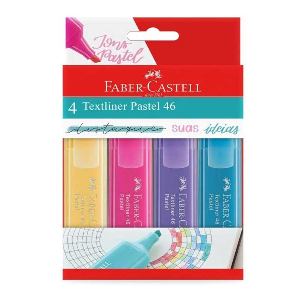 Marca Texto Pastel Textliner 46 Estojo com 4 Cores - Faber-Castell