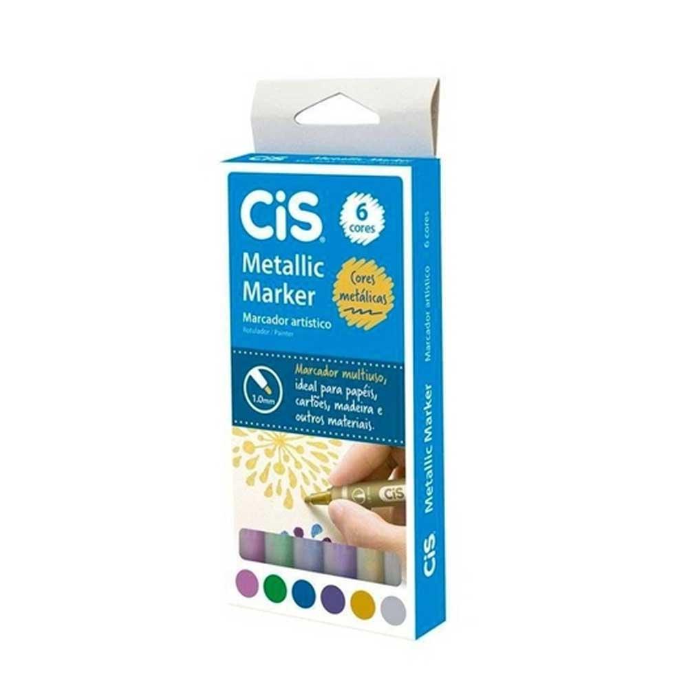 Marcador Artístico Metallic Marker 1.0mm Estojo C/ 6 Cores - CIS