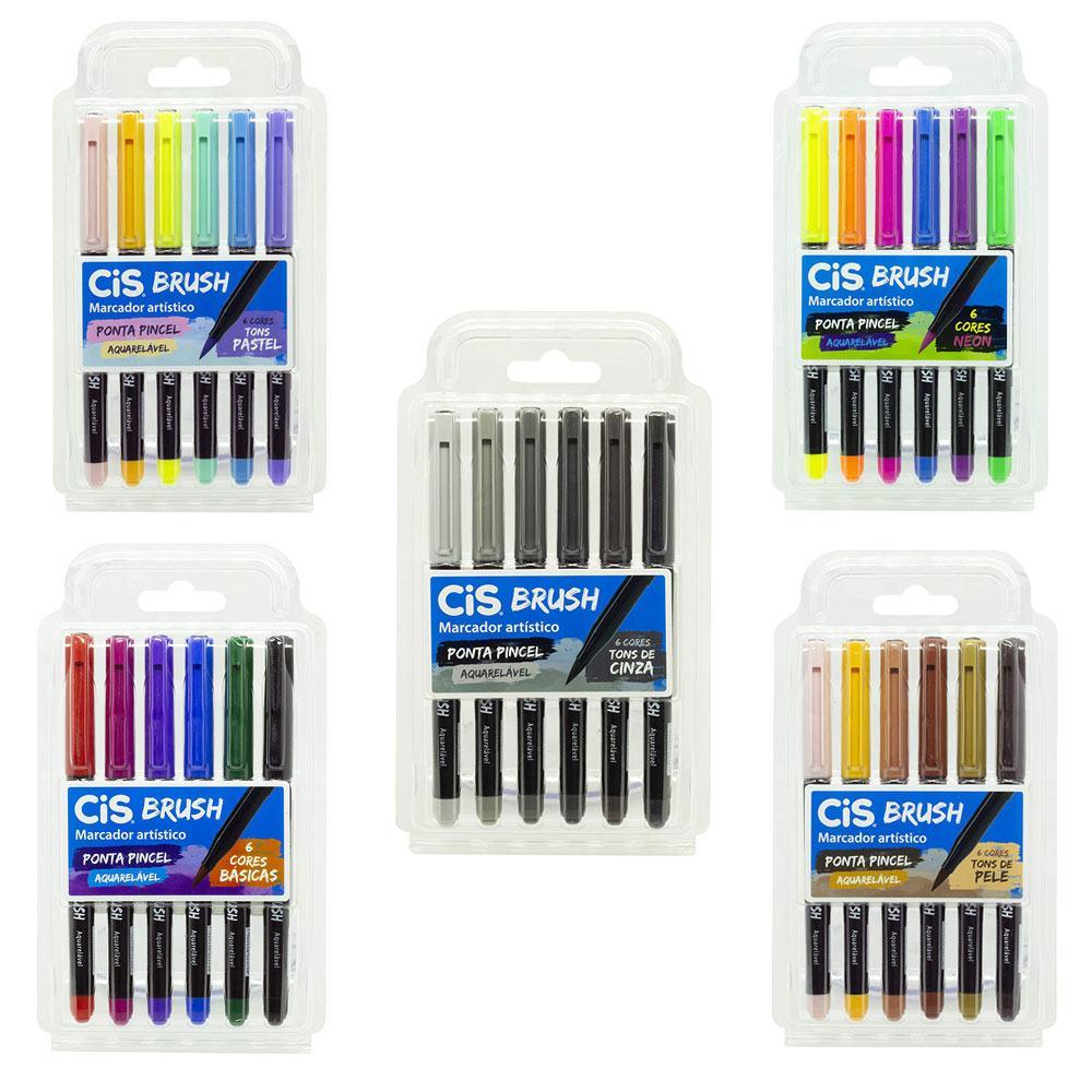 Kit Caneta Brush Pen Aquarelavel - Estojo C/ 6 Cores - CiS