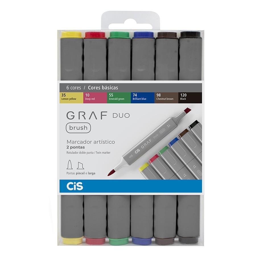 Marcador Artístico Graf Duo Brush Cores Básicas 6 Cores - CIS