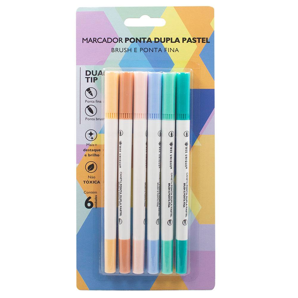 Caneta Ponta Dupla Pincel/Brush e Fineliner 0.7mm - 6 Cores Tons Pastel - Bee Unique