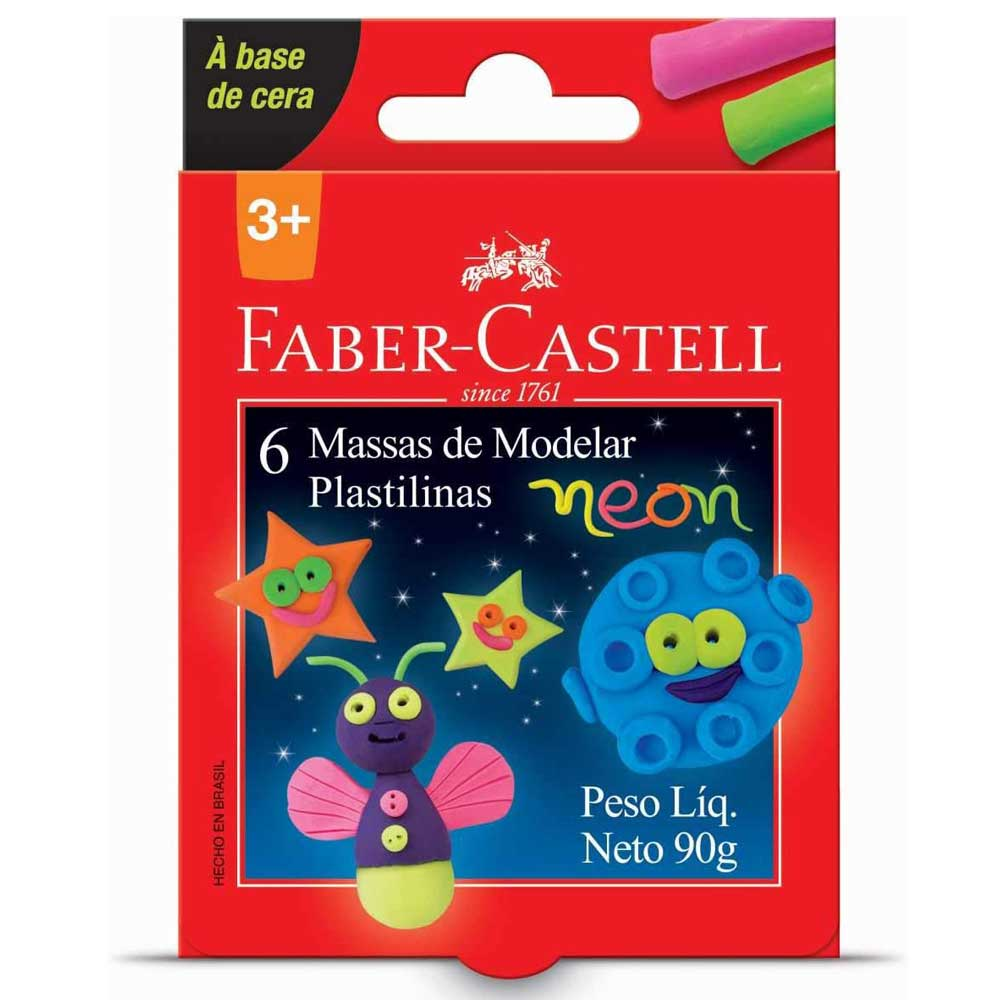 Massa de Modelar - Base de Cera - 6 Cores Neon - Faber-Castell