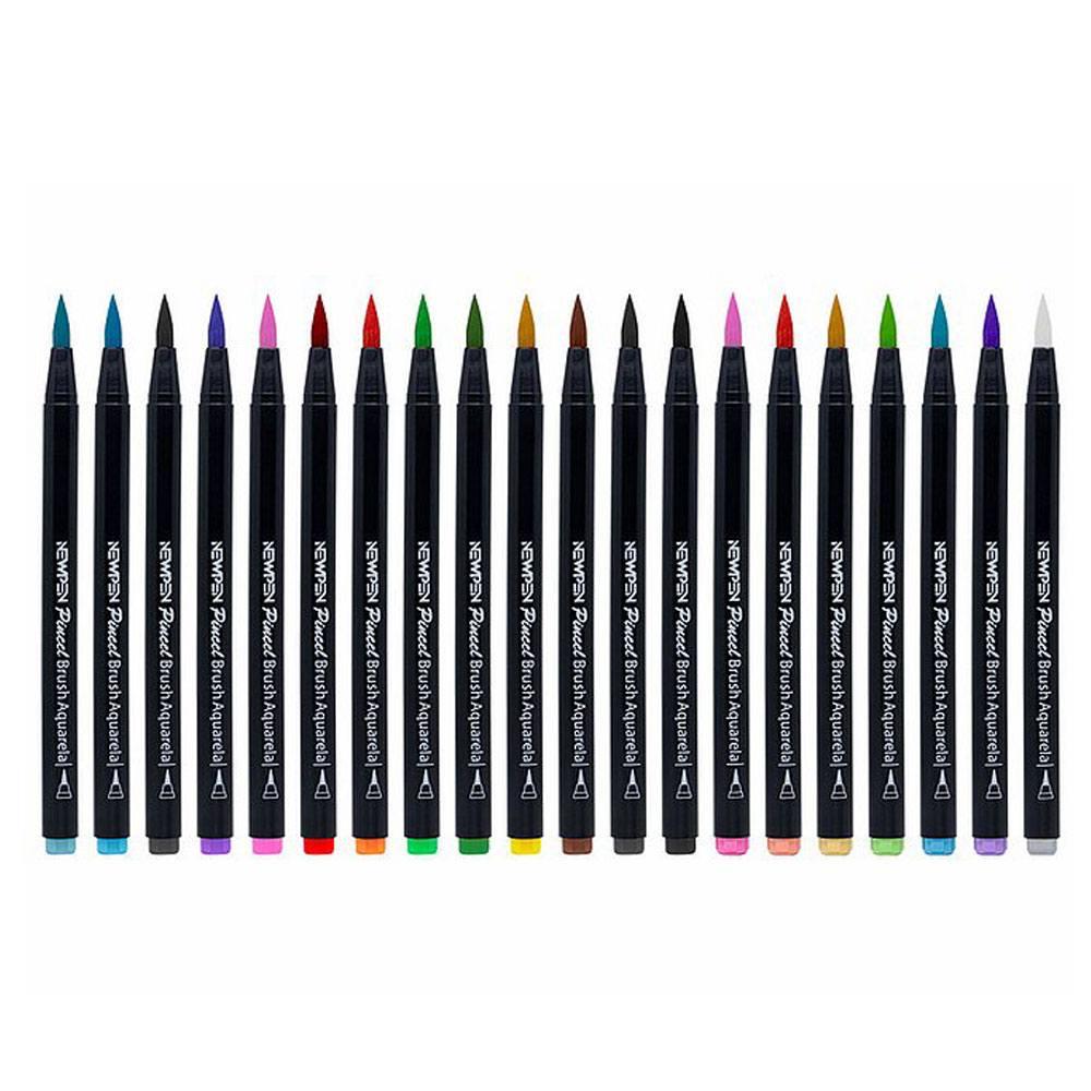 Kit Caneta Pincel Brush Pen 20 unidades C/ Blender - Newpen