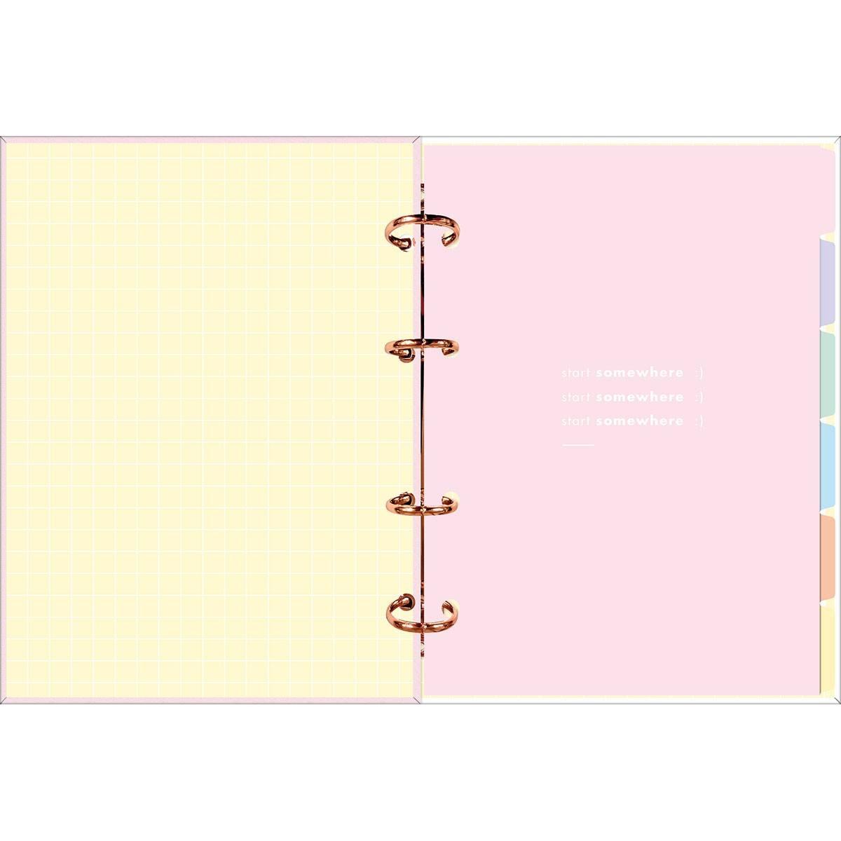 Planner Argolado Médio Happy Rosa 90 Gramas 2021 - Tilibra