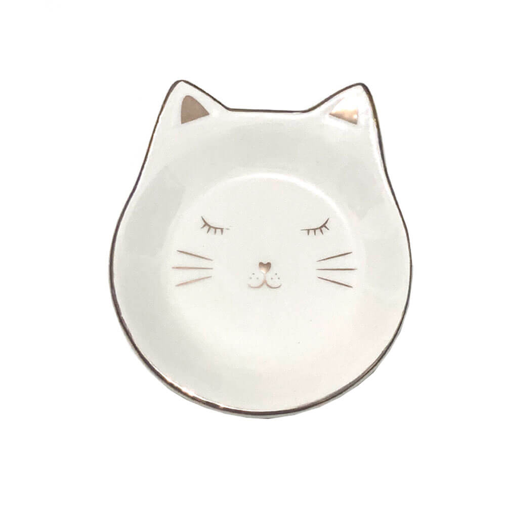 Porta Jóia Decorativo Gato Estampa Dourada 12x12cm