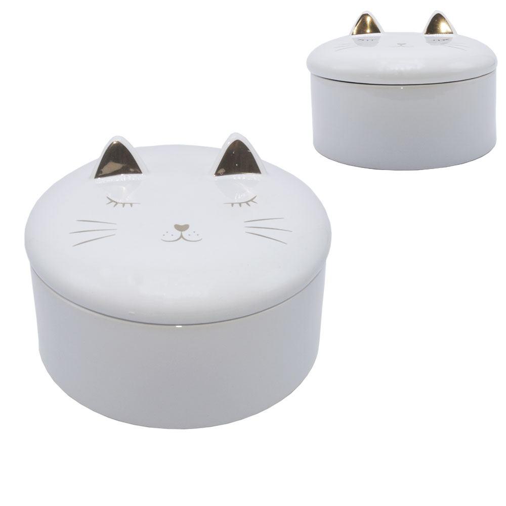 Porta Jóia Decorativo Gato Estampa Dourada 9x13cm