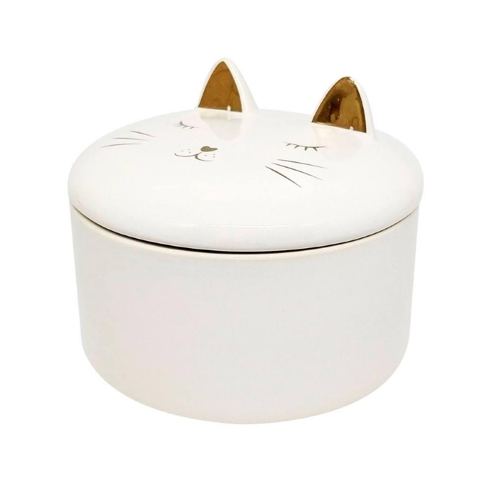 Porta Jóia Decorativo Gato Estampa Dourada 8.5x10.2cm