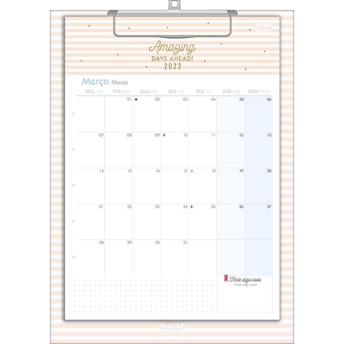 Calendário Planner Prancheta 21x29,7cm Soho 2022 - Tilibra