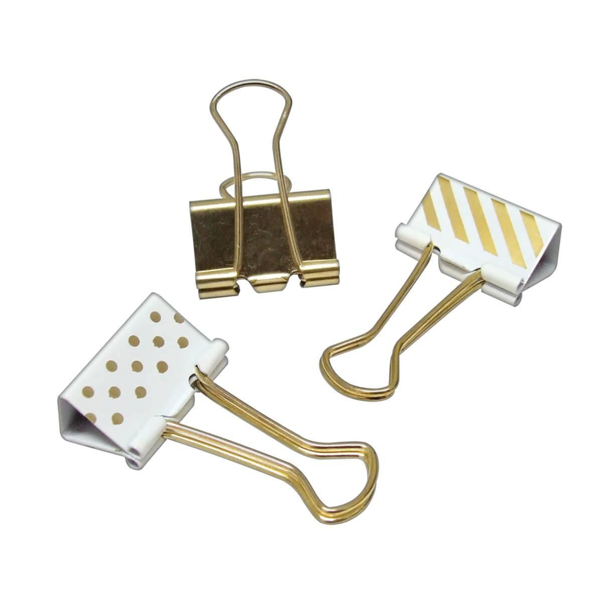 Prendedor de Papel/Binder 25mm Dourado, Listras e Bolinhas c/ 10 Un - Tilibra