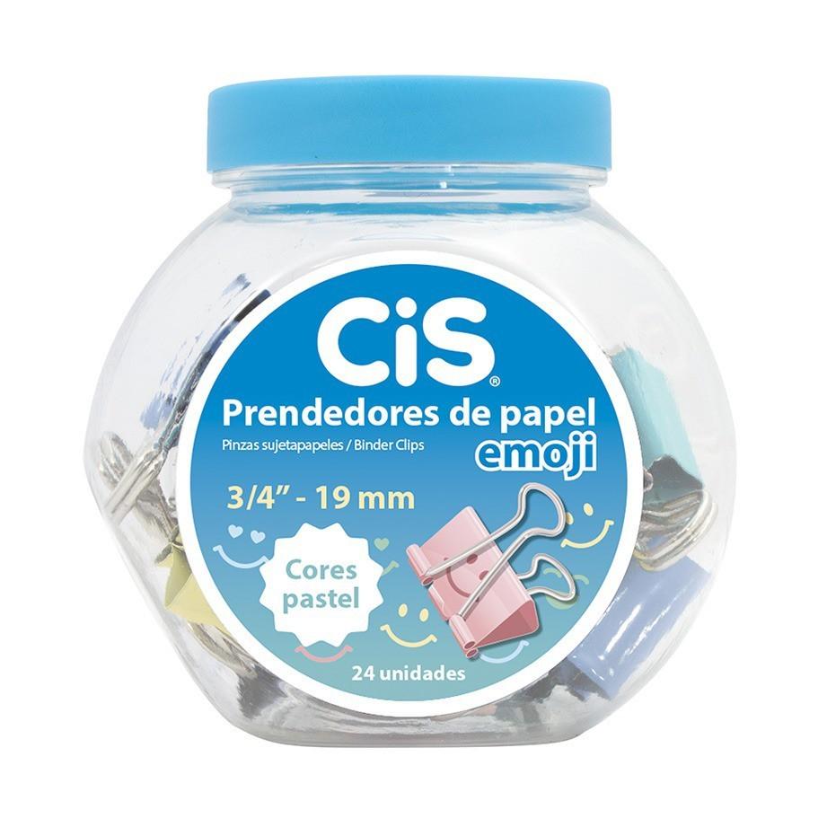 Prendedores de Papel Binder Emoji Tons Pastel 19mm Pote C/ 24 - CIS