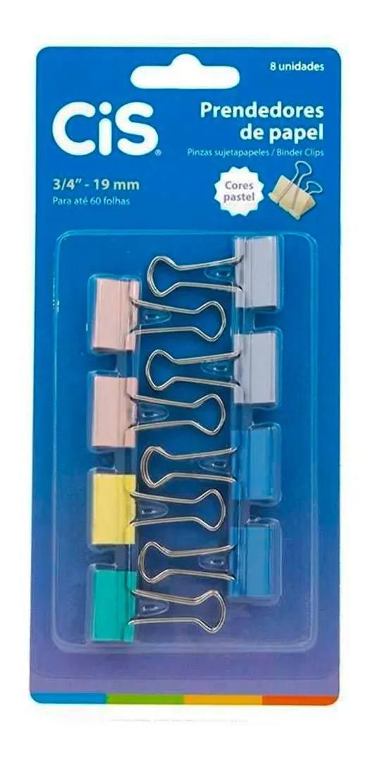 Prendedores de Papel Binder Pastel 19mm C/ 8 - CIS