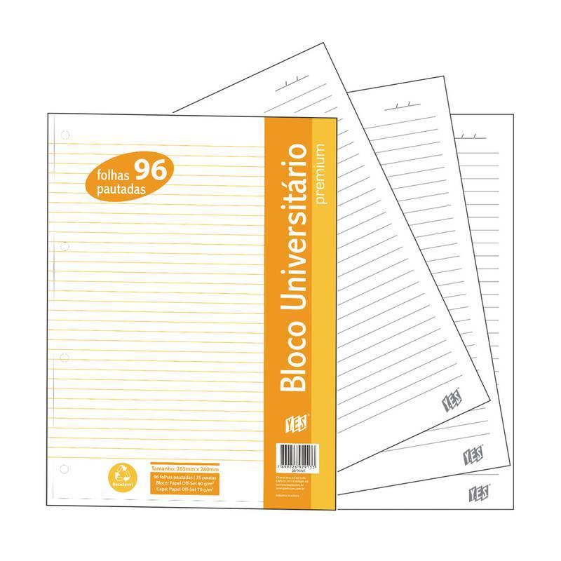 Refil Bloco para Fichário Universitário Premium com 96 folhas - YES