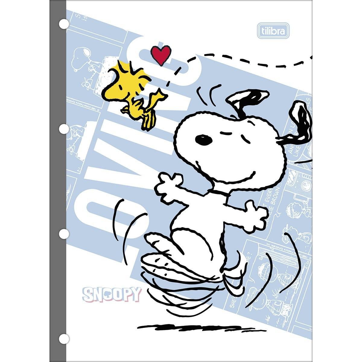 Refil  Caderno Argolado/Fichário Universitário Tilifelx Snoopy 80 Fls - Tilibra