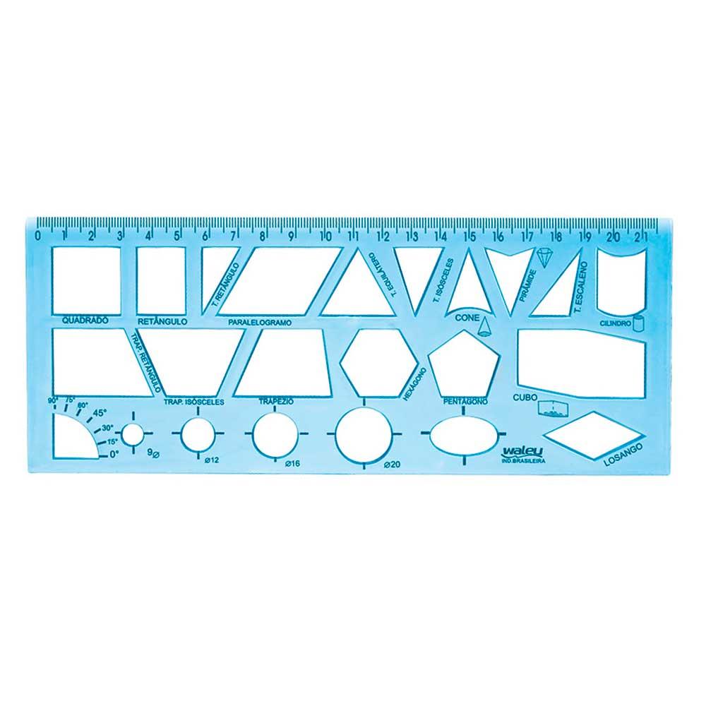 Régua Geométrica Escolar - Waleu