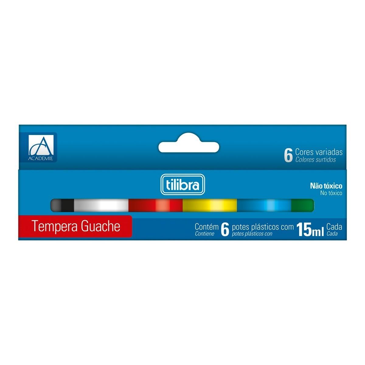 Tinta Guache 15ml 6 Cores Académie - Tilibra