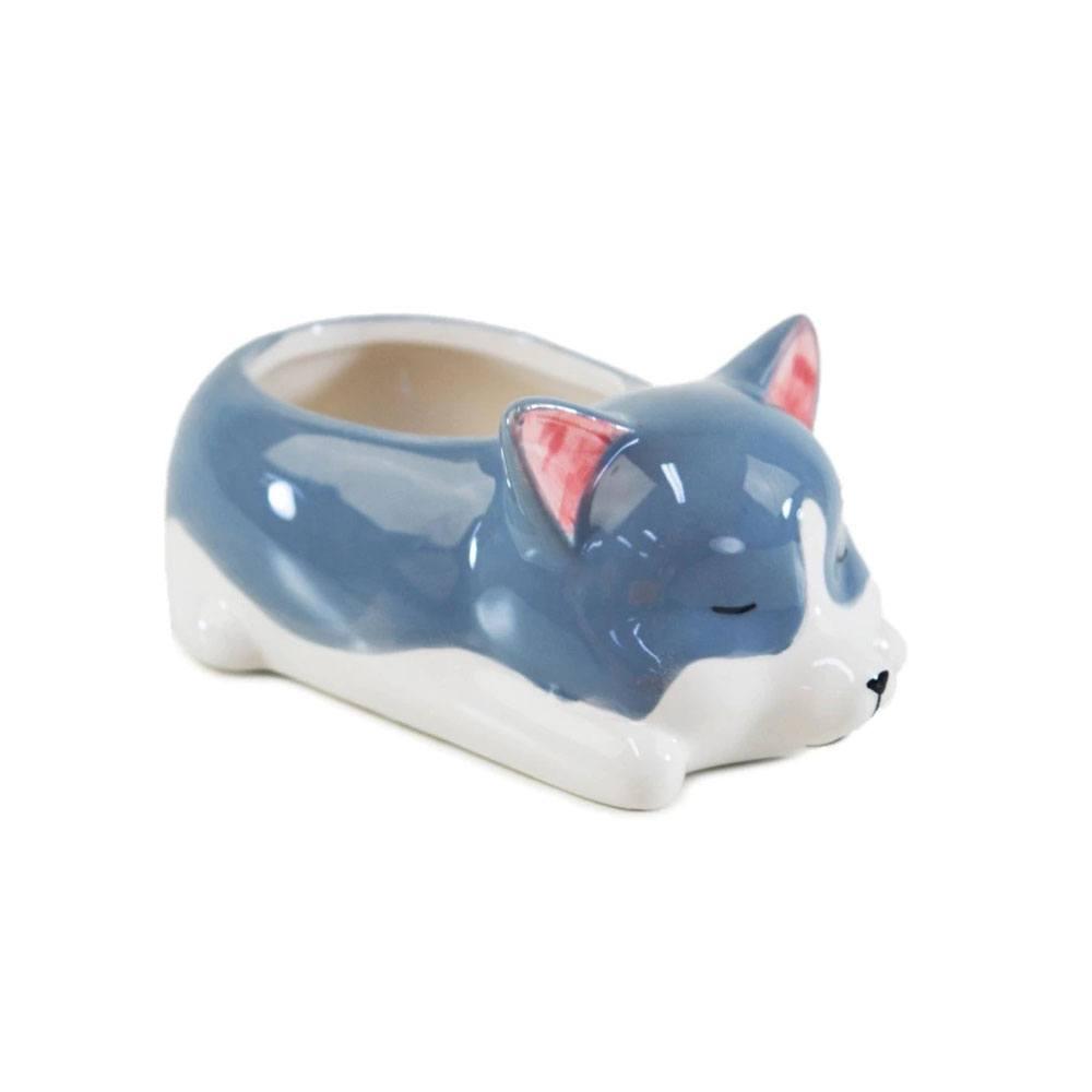Vaso Decorativo de Porcelana Cachorro 13x7,5cm