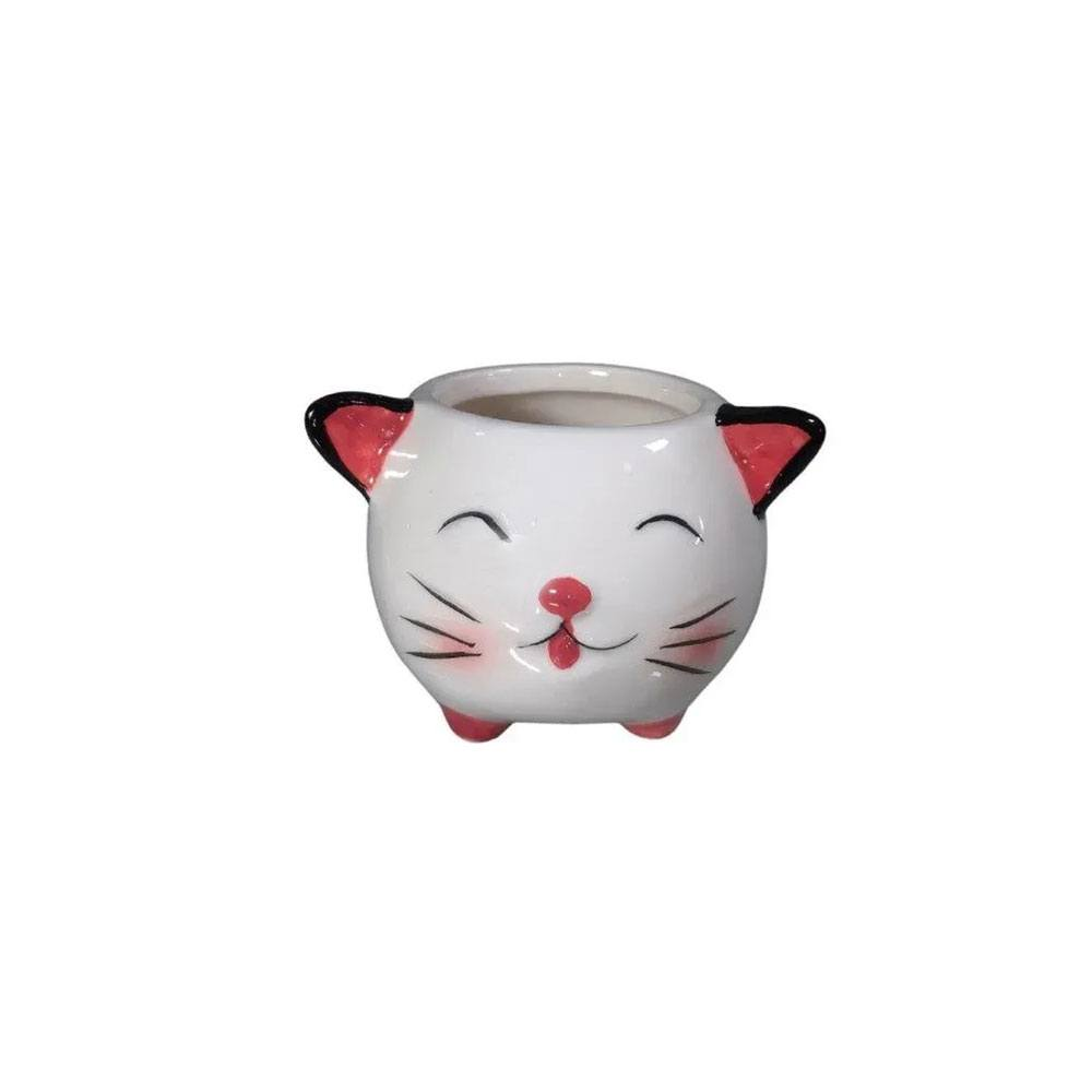 Cachepot Decorativo de Porcelana Cachorro / Gato