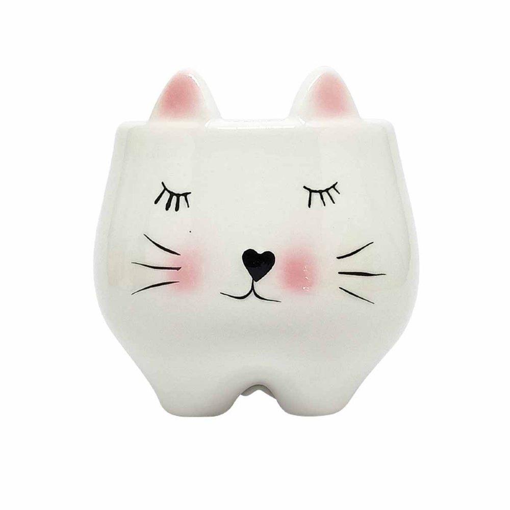 Cachepot Decorativo Porcelana Gato 10.5cm