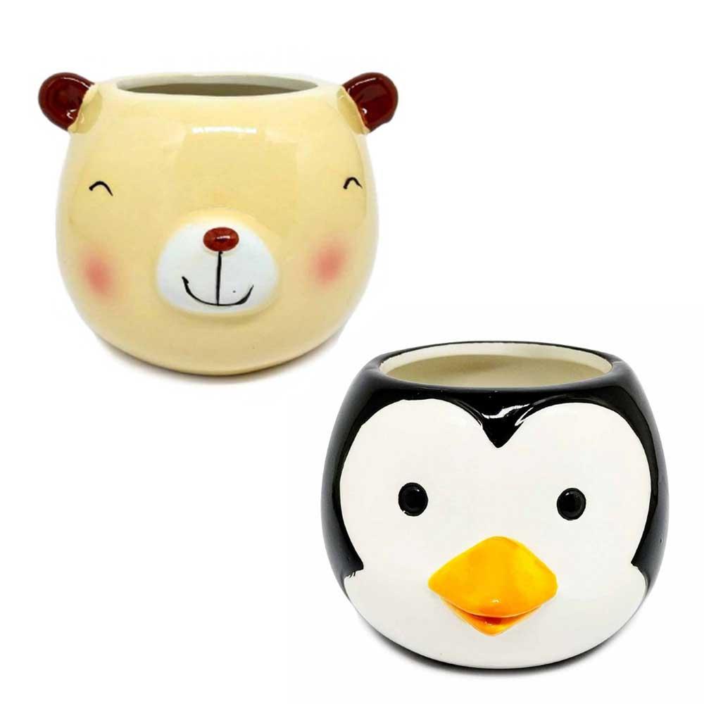 Vaso Decorativo Cachepot Pingüim/Urso Porcelana