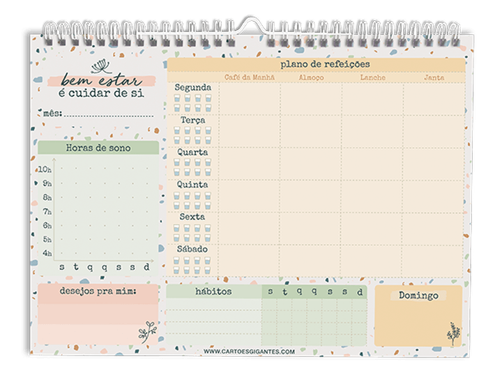 Wall Planner  Organização Semanal 52Fls - Cartões Gigantes