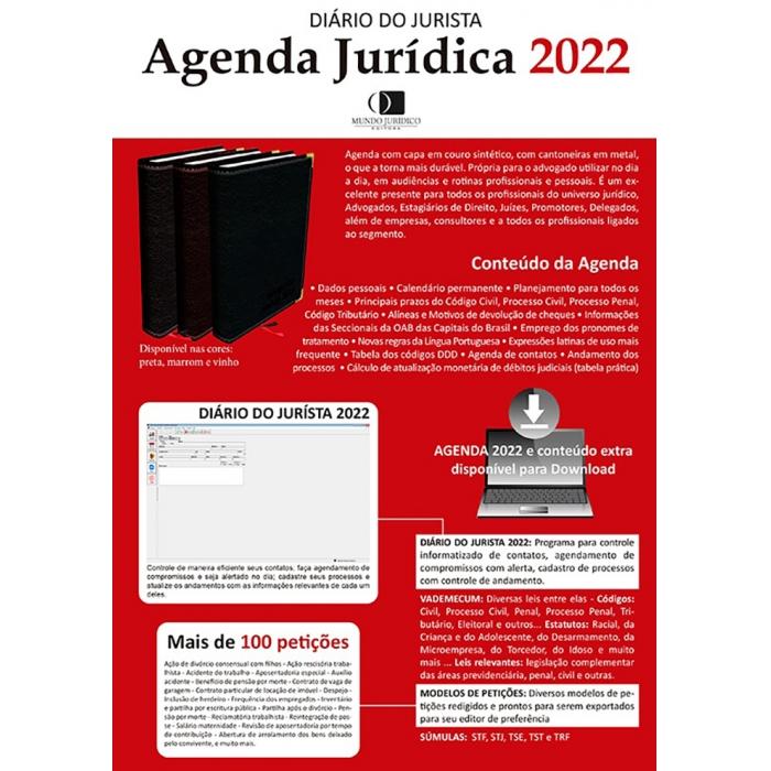 Agenda jurídica 2022 - Diário do jurísta com Agenda eletrônica grátis - Preta