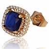 BP0012 Brinco Sgine Quadrado azul escuro dourado
