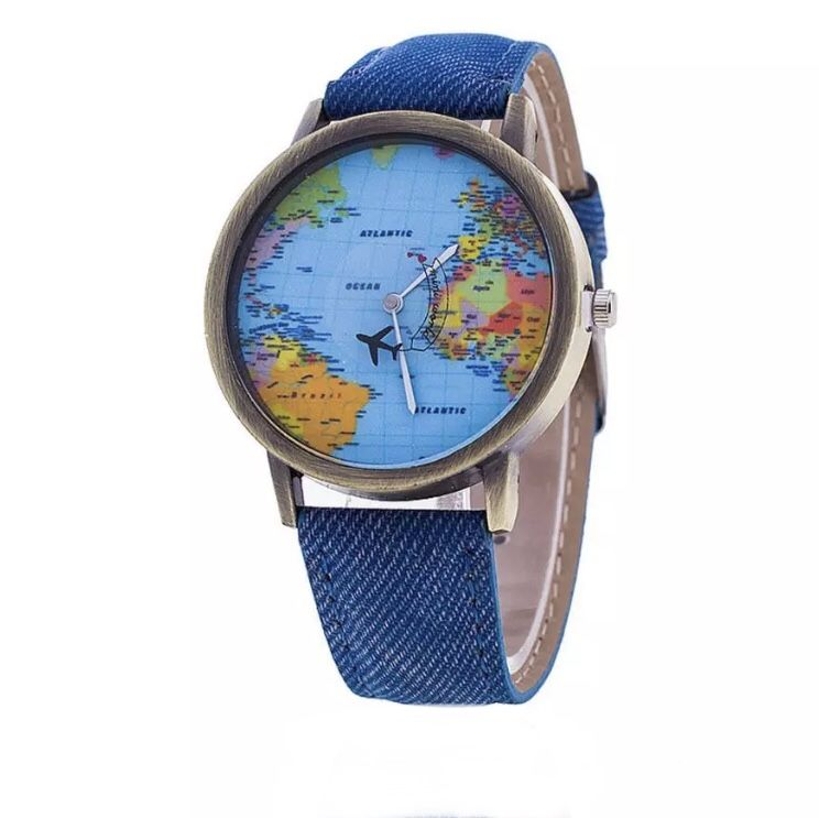 Relógio Mapa Mundi Avião tradicional