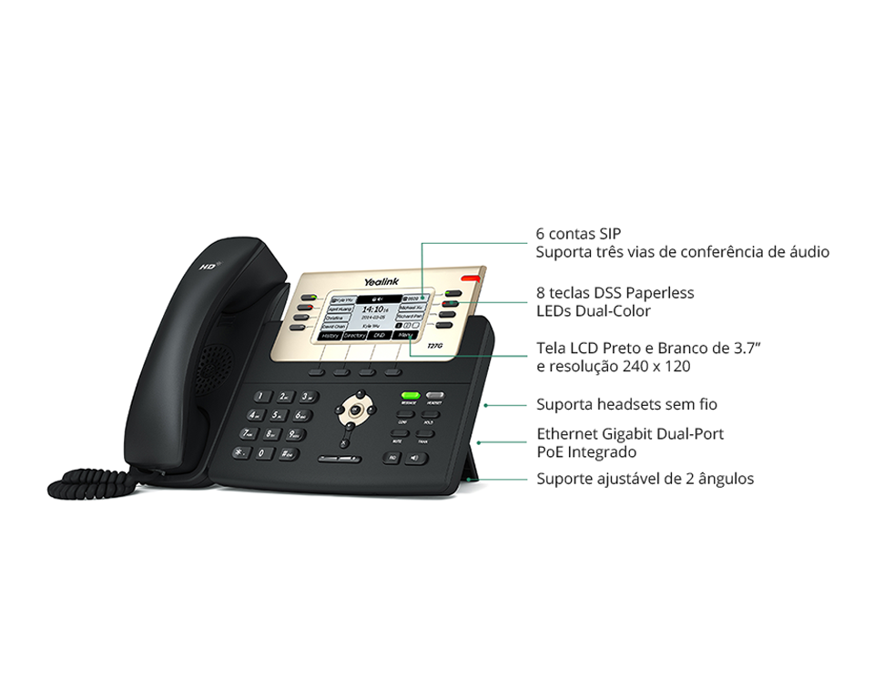 T27G - Telefone IP Yealink Giga SIP com Fonte